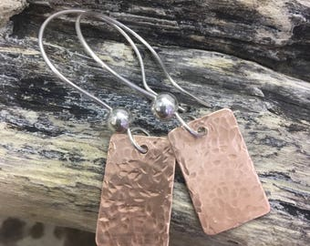 Copper and silver dangle earrings