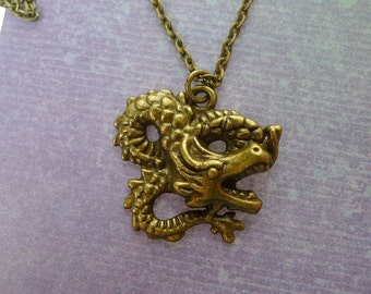 Bronze Dragon Necklace, Antiqued Brass Dragon Pendant Necklace, Everyday Fantasy Jewelry, Dragon Jewelry, Fantasy Necklace