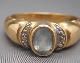 Superb Vintage 18 Carat Gold Aquamarine Ring 3.30 Grams.