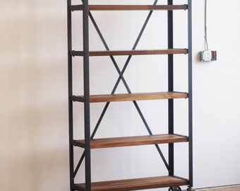 Walnut Engineers Industrial Bookcase Shelf Shelving Vintage bookshelve