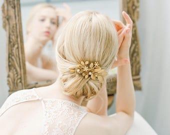 Bridal Hair Comb, Floral hair comb, Bridal hair wreath, Wedding Accessories, Gold, bridal hair piece, Bridal Hair Vine, hairpiece 1024