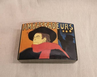 Vintage Ambassadeurs Box, Lacquered Ambassador Box, Art Nouveau