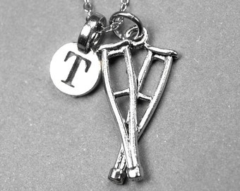 Small Crutches Charm Necklace silver plated pewter, initial necklace, initial hand stamped, personalized, monogram