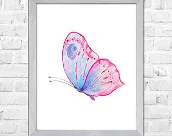 Butterfly Watercolor Painting, Butterflies Illustration, Kids Room Decor, Nursery Art, Nursery Wall Art, Baby Girl Nursery, Nursery Decor