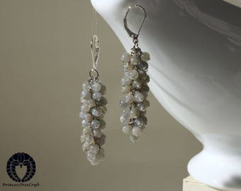 AAA Labradorite cluster earrings with 925 sterling silver lever back ear wire