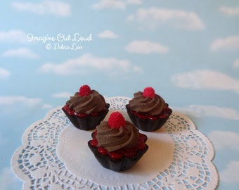 Fake Cake Tart Tartelette Mini Dessert Raspberry Chocolate Cream TRIO