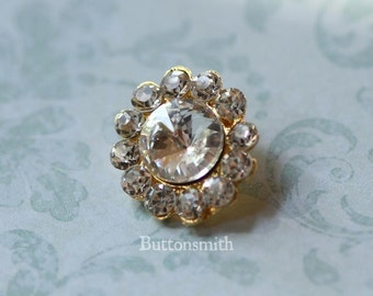 5 to 20 pieces of Crystal Rhinestone Buttons (20mm) RS-008 in Gold Finish - Perfect for Brooch bouquet wedding  ring pillow shoe clips