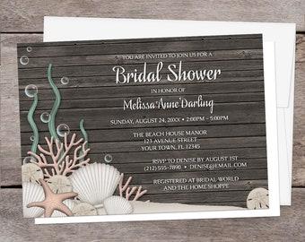 Beach Bridal Shower Invitations Rustic - Seashells Sand and Brown Wood Background design - Beach Shower Invites - Printed Beach Invitations