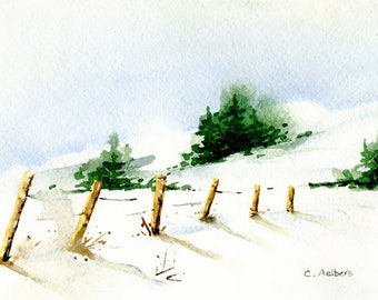 Miniature Snow Landscape Painting Original Watercolor