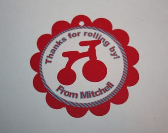 12 Tricycle Die Cut - Favor Tags - Gift Tags - Thank you Tags
