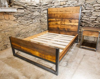 Abbey Road with Footboard - Industrial Platform Bed from Reclaimed Wood