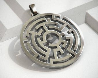 Maze Pendant - Women/Men - Labyrinth Motif - Premium Sterling Silver
