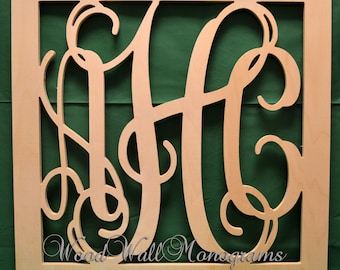 Vine Connected Monogram Letters Border Square - Unfinished