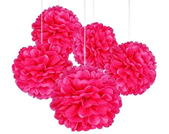 "A Set of 15 Pcs of 14"", 12"" and 10"" Tissue Paper Pom Poms Flower Balls For Birthday Wedding Baby Shower Party Decorations (PINK)"