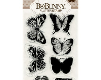 Bo Bunny Flutter Stamps Cardmaking Mixed Media