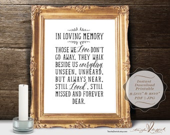 In Loving Memory, Instant download Printable Wedding Memorial Table Sign, Memory Sign, Those We love Don't Go Away (c0198)