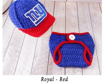 NY Giants Baby Hat, New York Giants Baby Hat, Sport Baby Hat, Team Baby Hats, Baby boy clothes, Football hat, New York baby hat, crochet hat