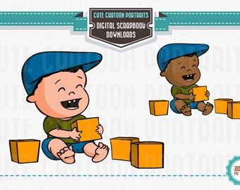 Instant Download - Baby Blocks - Clip Art Collage Sheet - Caucasian, African-American