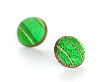Green Stud Earrings, Summer Green Lake Earring Studs, Green Black Stripes Fabric Button Jewelry, Fresh Earring Posts, Vintage Style Earrings