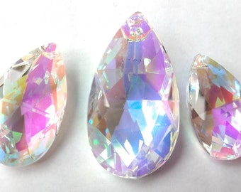 3pc Iridescent AB Teardrop Crystals for Princess Crowns 38mm and 50mm Chandelier Prisms