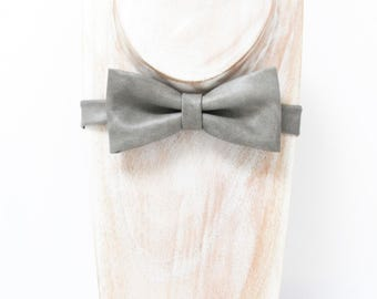 Grey Wash Faux Leather Bow tie