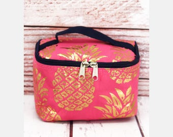 Gold Pineapple Coral Pink Case