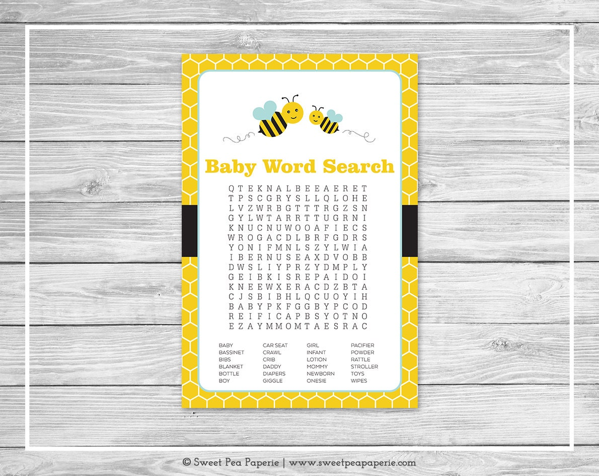 Bumble Bee Baby Shower Word Search Game Printable
