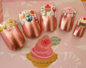 Candyland Fake Nails, Pink Foil Dessert Fantasy Kawaii 3D Sweets Nail Art, Japanese 3D Nail Art, Deco Nail, Kawaii Fake Nails, Pink Candy