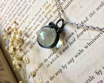 Quartz crystal ball necklace, crystal ball necklace, unique quartz crystal necklace