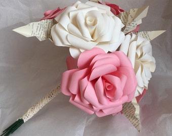 Pink paper rose bridesmaid bouquet, paper flower bouquet, wedding bouquet, bridal bouquet, paper rose bouquet, wedding flowers