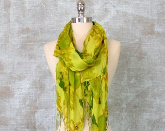 Womens Scarf, Fringe Scarf, Floral Scarf, Long Scarf, Apple Green