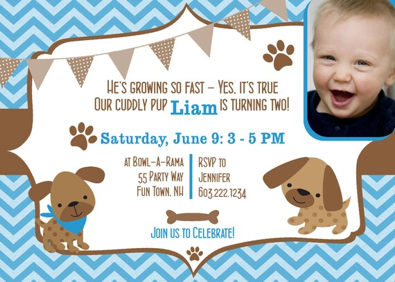 Dog Birthday Party Invitations Puppy Invites 2nd Second Boy Chevron Photo Card