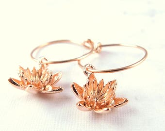 Lotus Earrings, Rose Gold Hoop Earrings, Lotus Blossom Hoop Earrings, Thin Rose Gold Hoops, Waterlily Earrings, Yoga Earrings, Gift for Her