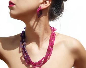 Big chain.Statement necklace.Contemporary jewelry.Colorful jewelry.Geometric jewelry.Modern necklace.Summer jewelry.Stylish necklace