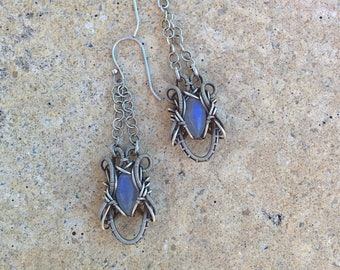 Nickel free 925 Sterling silver wire wrapped earrings with Rainbow Moonstone gemstone