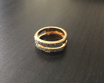 Vintage Crystal Double Band Ring // Gift for Her