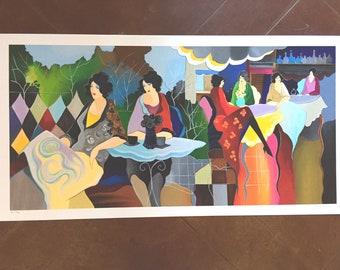 "Itzchak Tarkay Afternoon Luncheon II Serigraph on Paper 24/40 2003 18 x 37 3/8"""