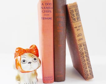 Vintage Decorator Book Collection • Young Reader Collection • Set of 3 Books in Browns and Oranges