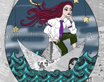 Paper Boat, by Athena Mariah LaRue. Digital art on canvas.