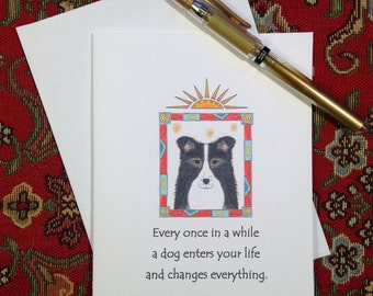 Border Collie Greeting Card - Border Collie Illustration