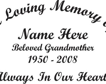 In Loving Memory Of Beloved Grandmother Memorial Window Decal