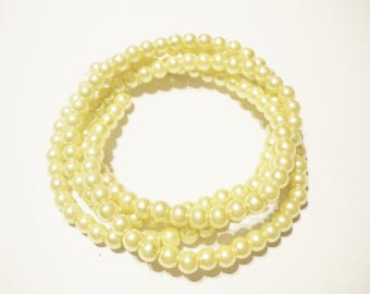 100 clear 6 mm yellow Pearl glass beads