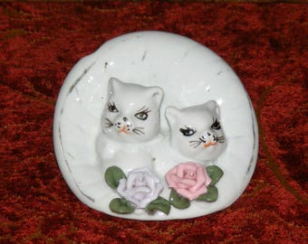 Vintage Glazed Bisque Kittens in bonnet with Rose Figurine