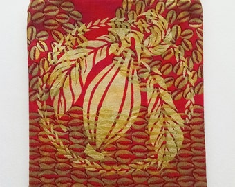 Gold and Red Cacao Zipper Pouch