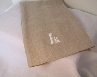 Tea Towel, Linen Kitchen Towel, Hand Towel, Drying Cloth, Embroidered Initial Hand Towel