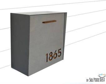 Modern Mailbox with Concrete Face, Aluminum Body and Dark Oak Wood Vanish, Custom Modern Mailbox, Wall Mounted Mailbox,  Mailnest Type 1