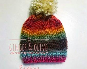 Rainbow pom beanie rainbow knit hat crochet hat newborn baby knit hat photo prop winter hat