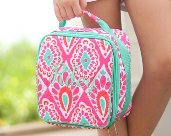 Girls Monogrammed Pink Mint Diamond Mint Trim Lunch Bag Personalized Lunch Tote