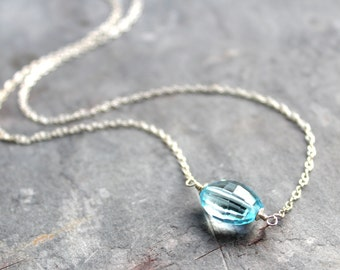 Blue Topaz Necklace Sterling Silver Layering Necklace Faceted November Birthstone