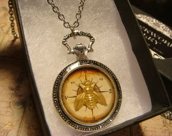 Bee over Compass Pocket Watch Style Pendant Necklace (2455)